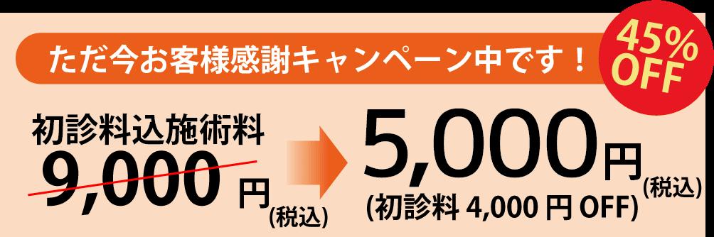 ただ今お客様感謝キャンペーン中です 初診料込施術料9,000円(税込)が5,000円(税込)45%OFF